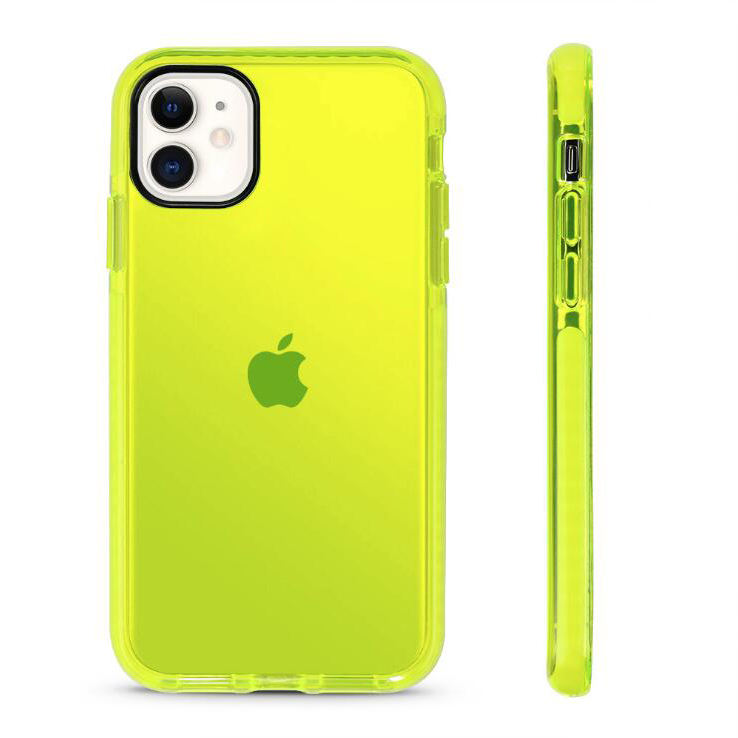 TPE Impact Transparent Shockproof Frame Bumper Case for iPhone 11 2021 Fashion Neon Color Phone Case