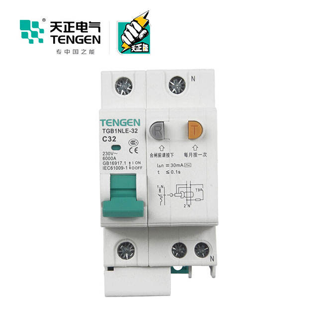TENGEN ยี่ห้อ RCCB 4 P 25A 10mA TGB1NLE-32 2P Air RCCB Circuit Breaker RCCB Current ผู้ใช้