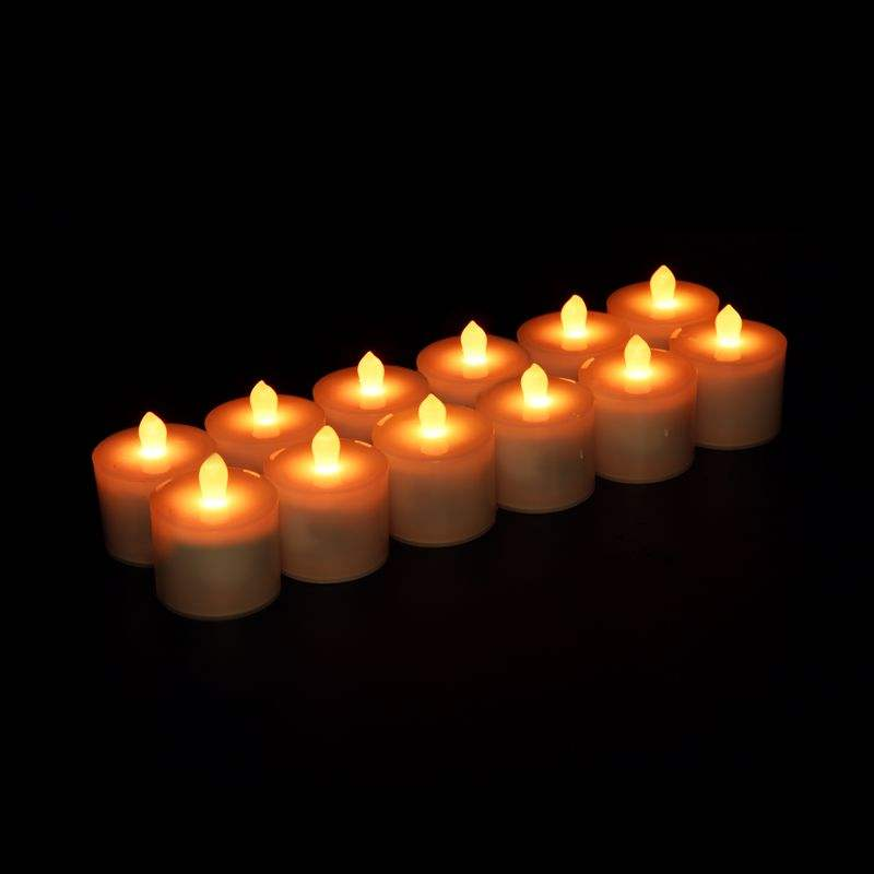 12pcs LED Candle Lights set Flameless Tealight with Inductive Charging Base