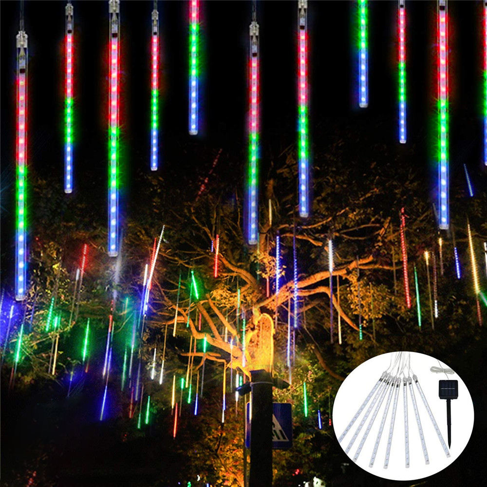 Waterproof solar led meteor shower rain lights outdoor christmas meteor led tree lights solar for holiday Party decor