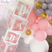 A-Z Letters White Surprise Box For Love Boy Girl Baby Shower Birthday Party Balloon Decor Boxes Christening Baptism Birthday Dec