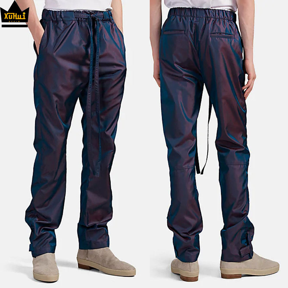 Rainbow reflective pantalones hombre winter men pants iridescent twill fashion wholesale blank drawstring jogger pants custom