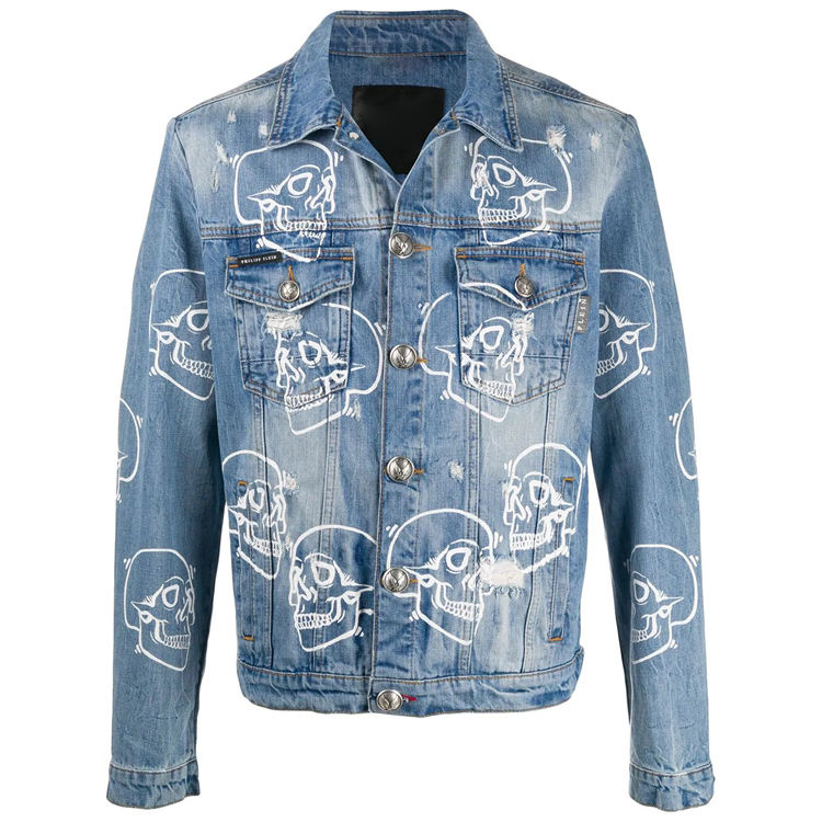 DiZNEW Fashion printing Blue Denim Jaket winter jean jakcet 100% cotton jeans jaket mens