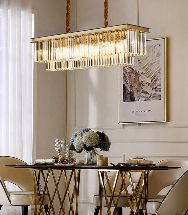 Lustres En Cristal Fabriqus En Chine Rectangle Crystal Chandelier, Lustres Pendentes Led Sala Jantar Hanging Lights For Home