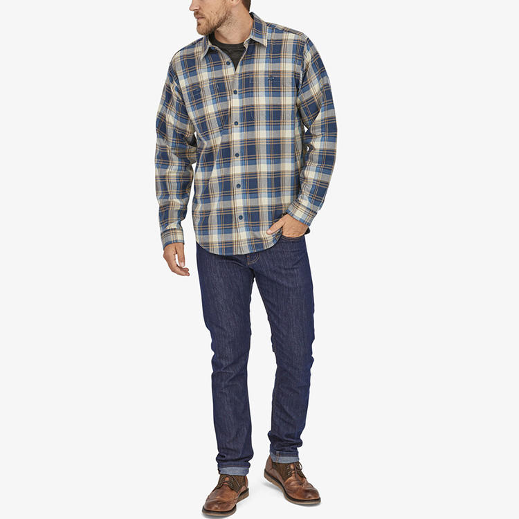 Custom New 2021 Men's Oversized Casual Work Wear Pure Cotton Plaid Long Shirt Blouse