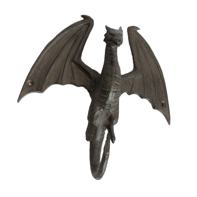 cast iron ancient flying dragon shaped single hook for garden decoration home decor antique rust gift