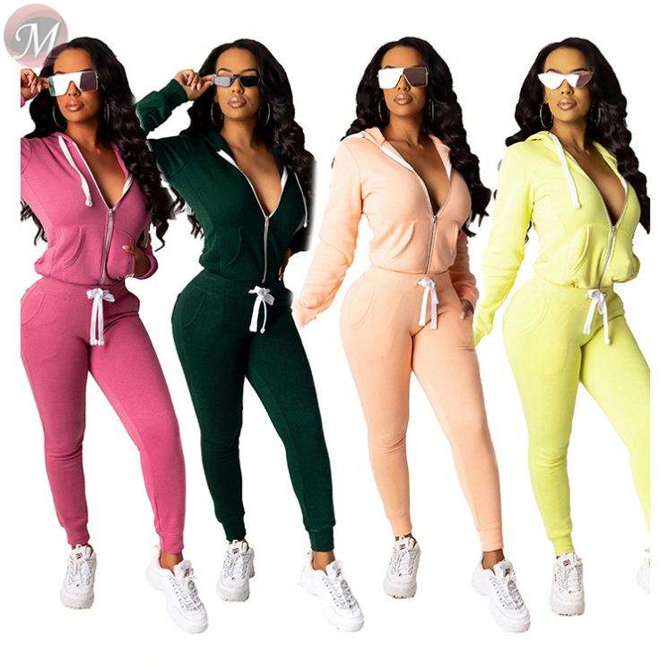 hot zipper front solid color casual hoodies fall 2019 Outfits Two Piece Pant Set Women