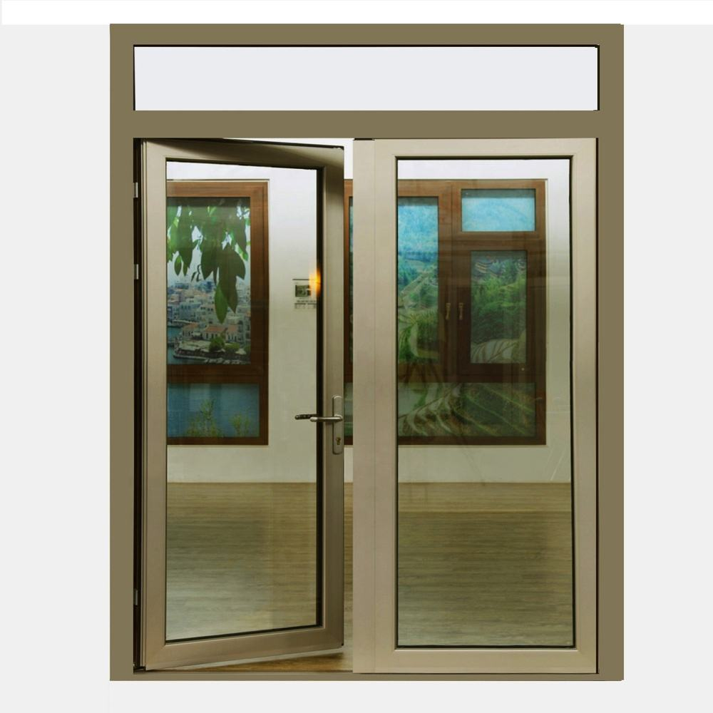 wind proof bullet proof security door Laminated glass french casement door