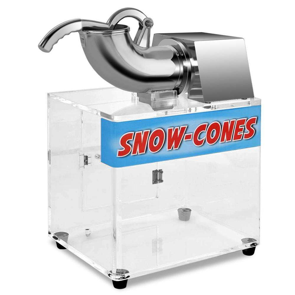 Electric Dual Blades Commercial Ice Crusher Shaver 440lbs/hr Stainless Steel Snow Cone Maker Machine with Acrylic Box