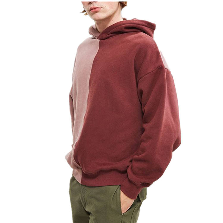 Custom two tone high quality block patch cotton oversized pullover men hoodie