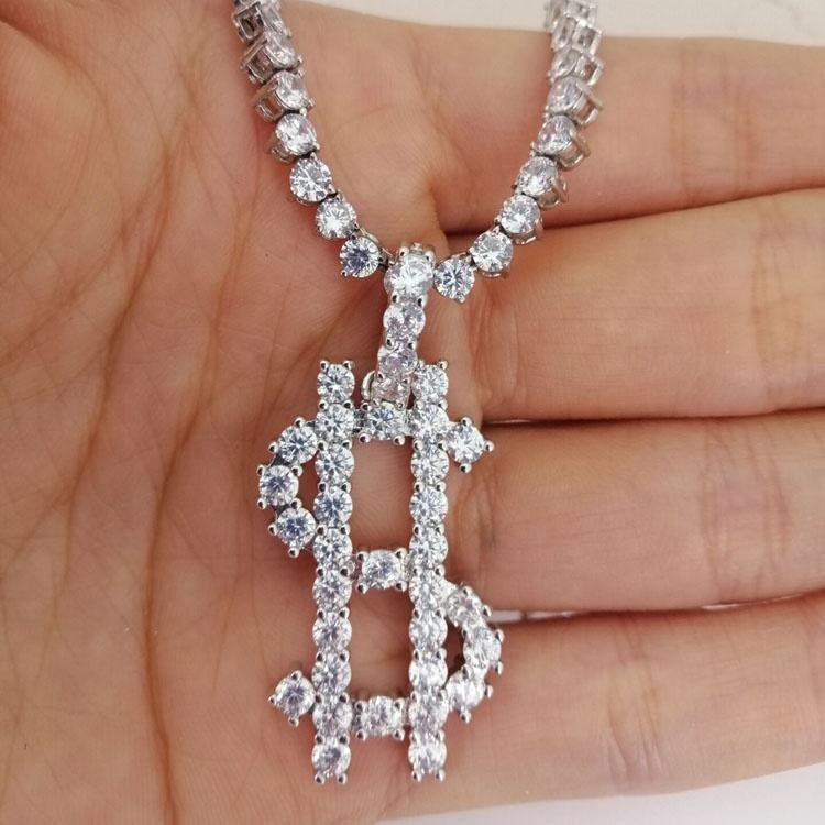iced out diamond 18kt white gold dollar sign pendant with tennis necklace