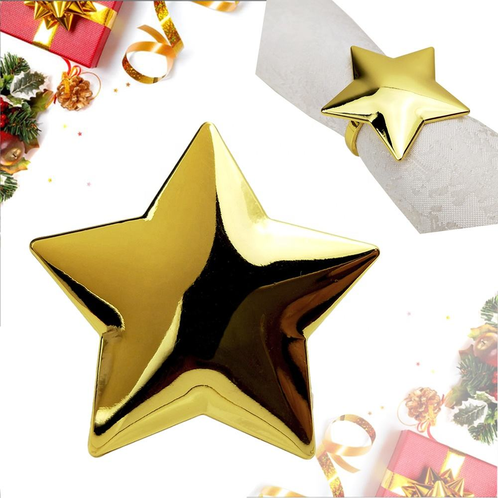 bulk christmas star napkin rings gold and silver plated