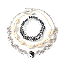 Fashion Personality Chinese Style Ying and Yang Pendant Necklace Set Natural Sea Shell Necklace For Women