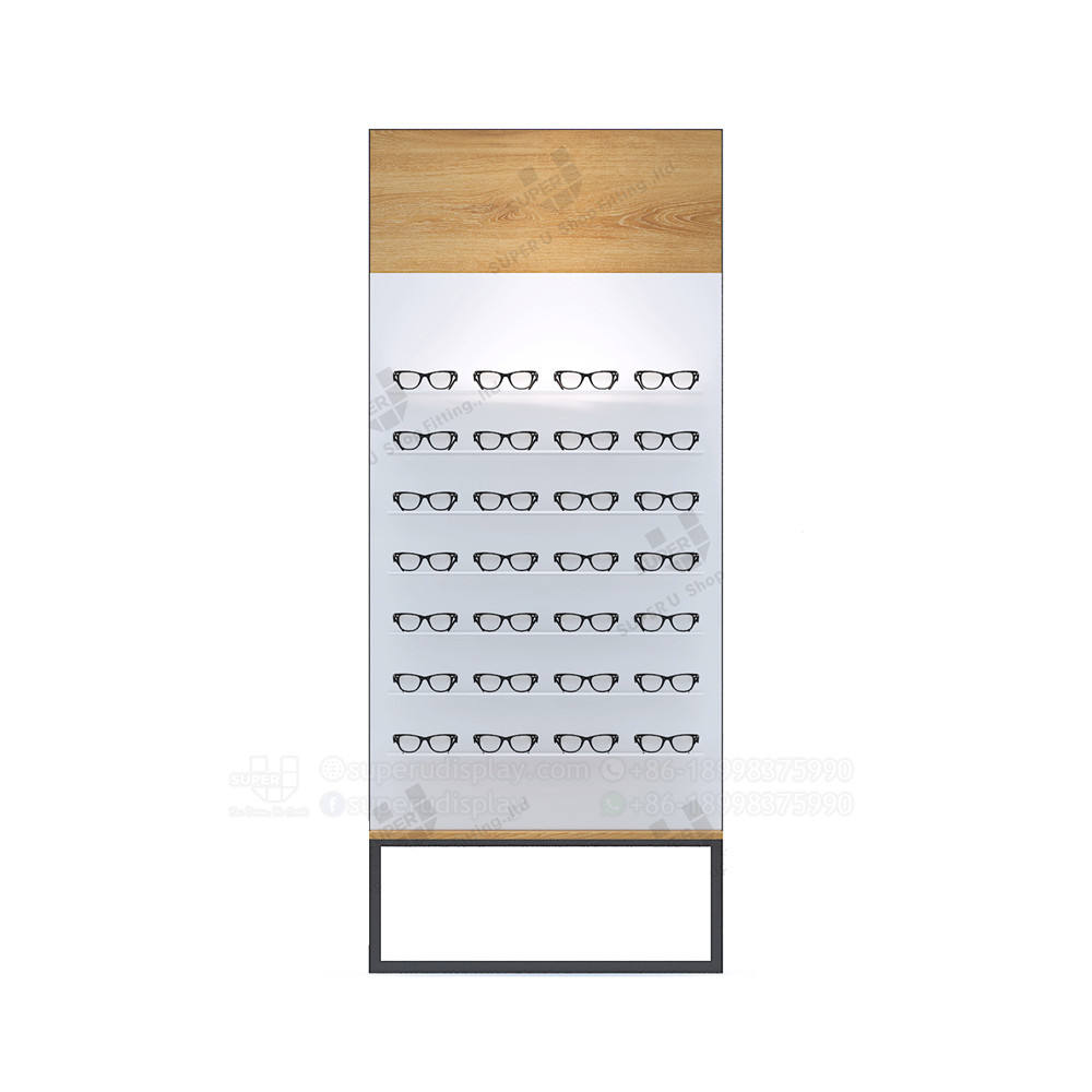 Fashion Wooden Decoration Professional Design Wall Mounted Sunglass Display Rack Stand for Optical Shop with Metal Foot