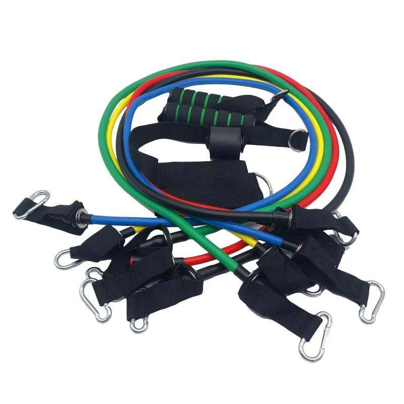 latex resistance band set custom resistance band wholesale fitness exercise a set of 11pcs sets with hook and pull rope