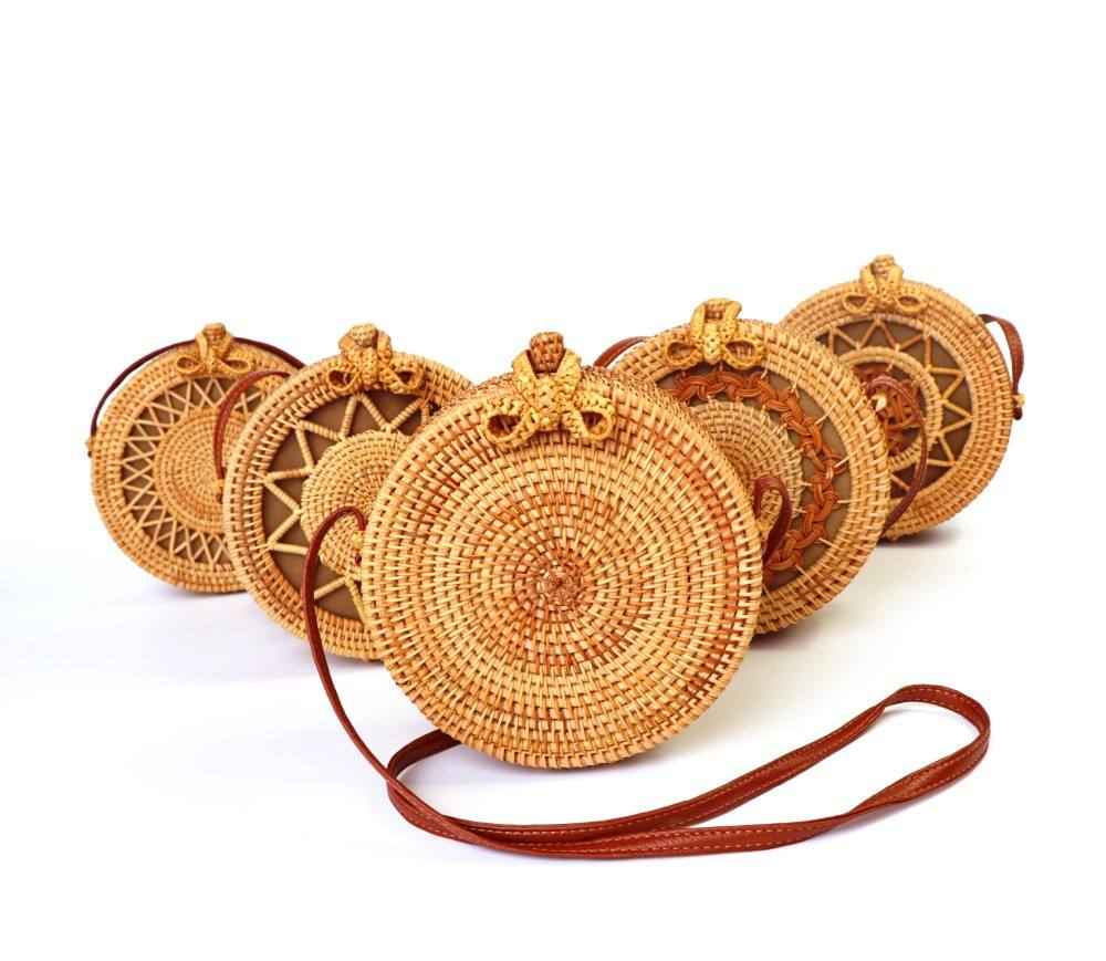 Factory Selling Summer Handmade Women Straw Beach Handbag Bamboo Rattan Bag