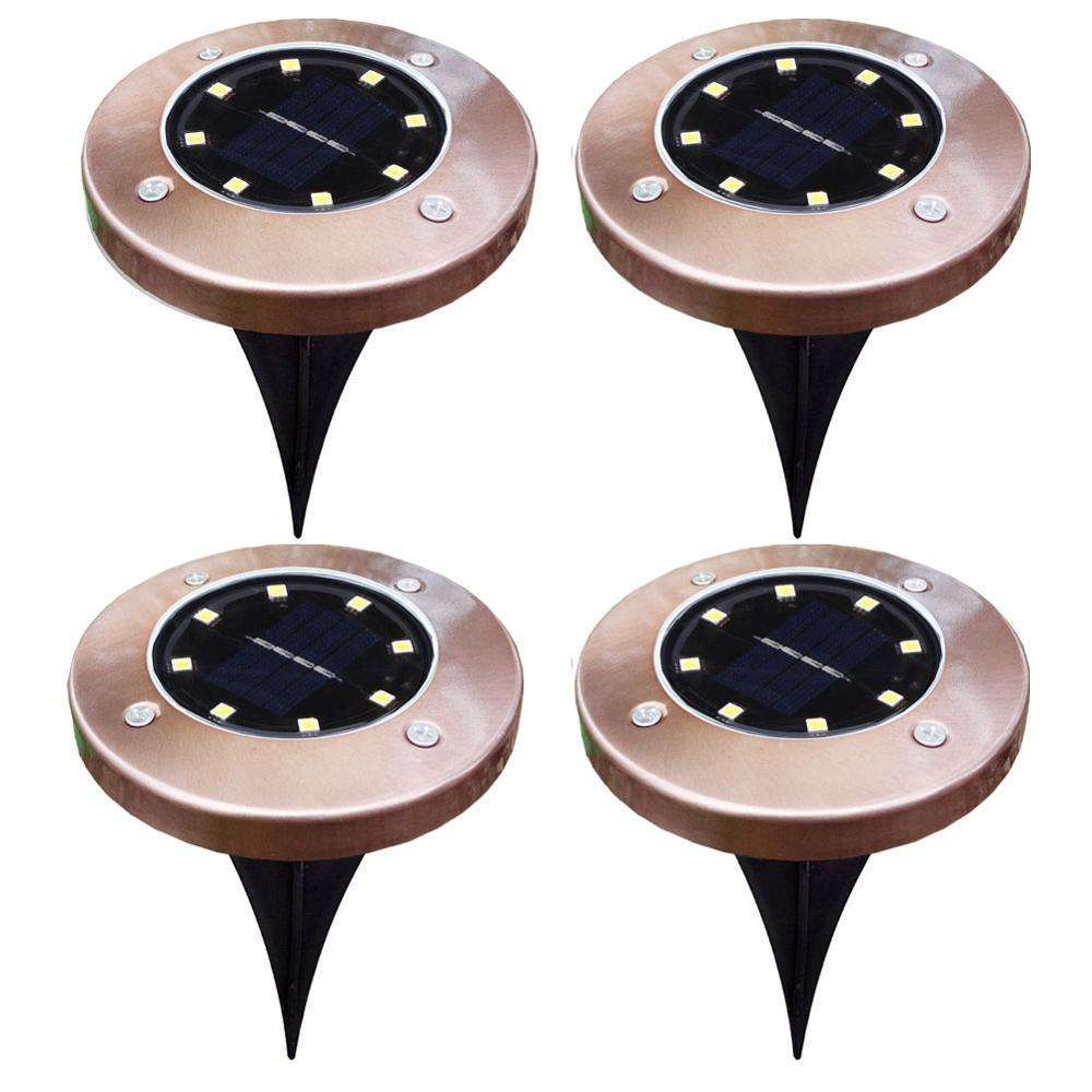 SET OF 4 Copper Waterproof 8 LED Garden Pathway Light Solar Ground Lights Disk Lights für outdoor