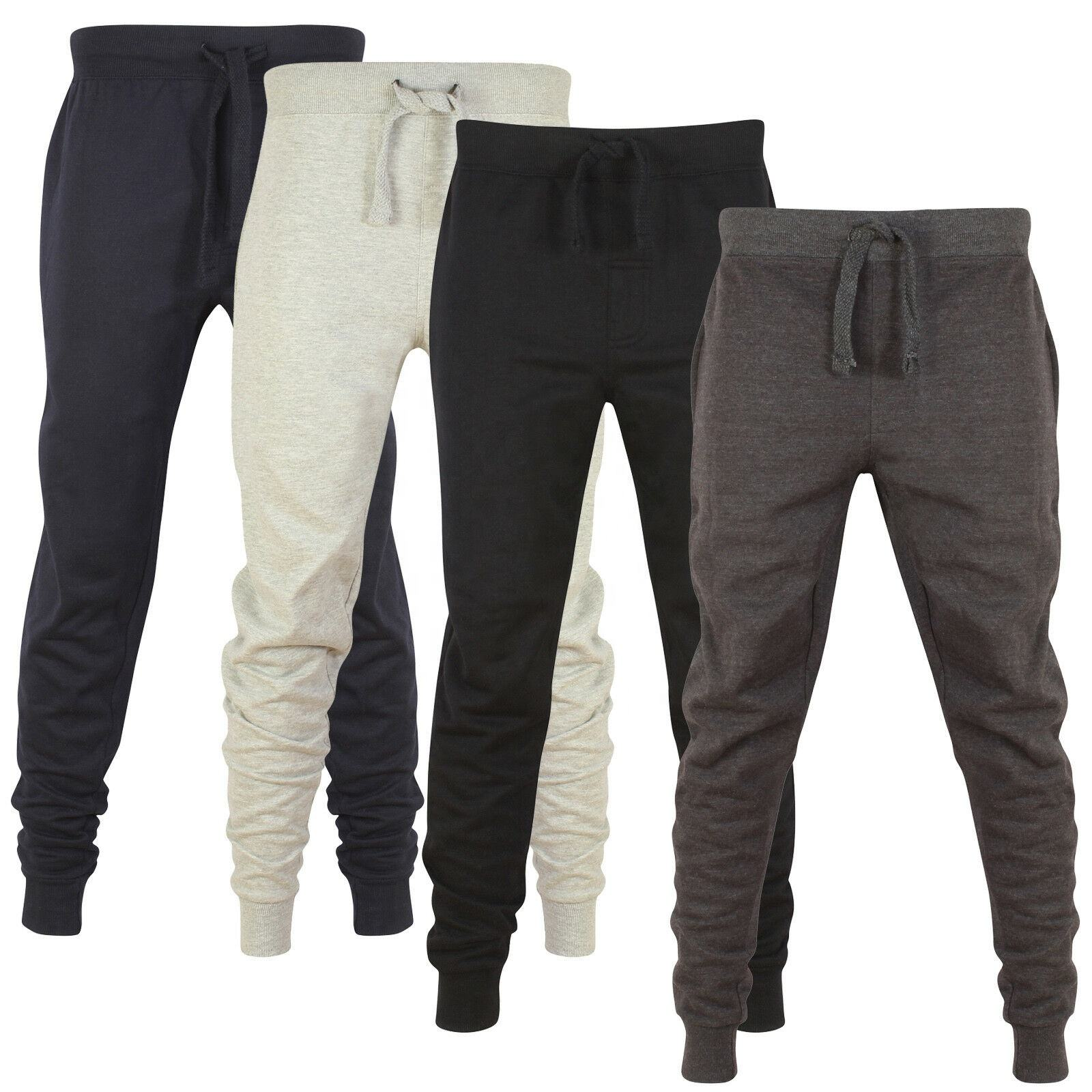 Mens Skinny Jogging Bodems Slim Fit Joggers Trainingspak Fleece Broek Gym Sweats