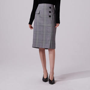Naivee retro style plaid high waist ladies straight skirt
