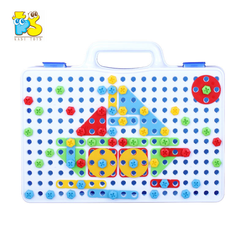 Kids early educational 3D puzzle plastic toy construction building diy toy diy assembled magical plate