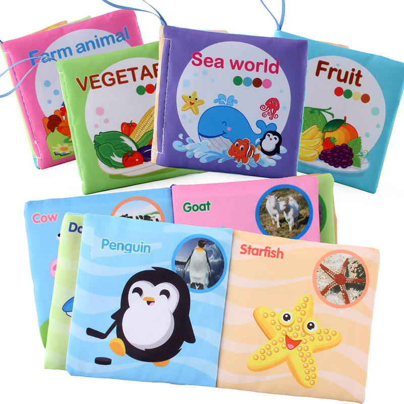 Baby First Nontoxic Soft Cloth Book Infants Crinkly Books Early Learning Toys for Toddlers