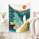 Sun Moon Japanese Tapestry The Japanese Style Mountain Sea Sun And Moon Print Ornament Wall Tapestry