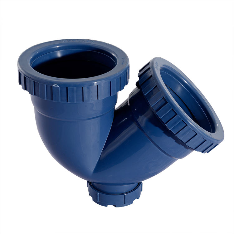 Source Factory Manufacturer PP Soundproof Drainage Pipe Fittings DIA50-160mm deep blue