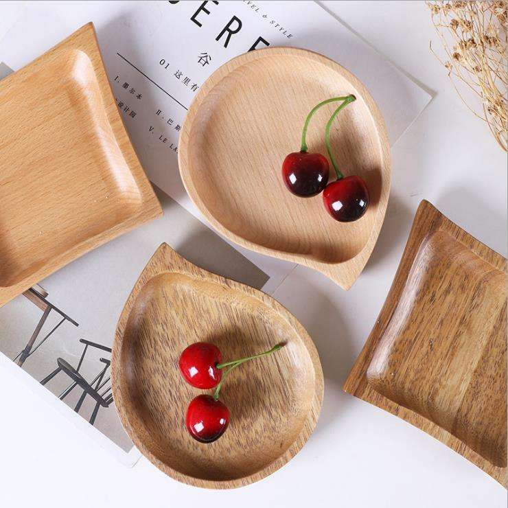 Creative plate wood dinner serving dishes Japanese irregular Tableware Feeding Wooden Baby Plate
