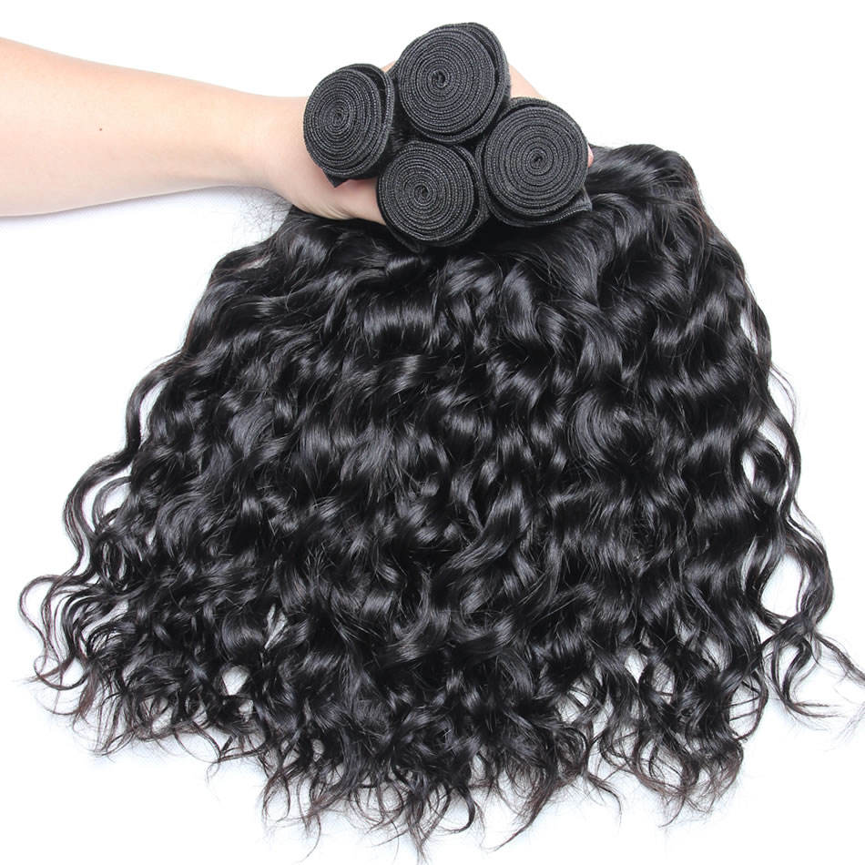 Brazilian Water Wave Human Hair Extensions Remy Hair Weave Bundles Natural Black Can Be Dyed Bleached
