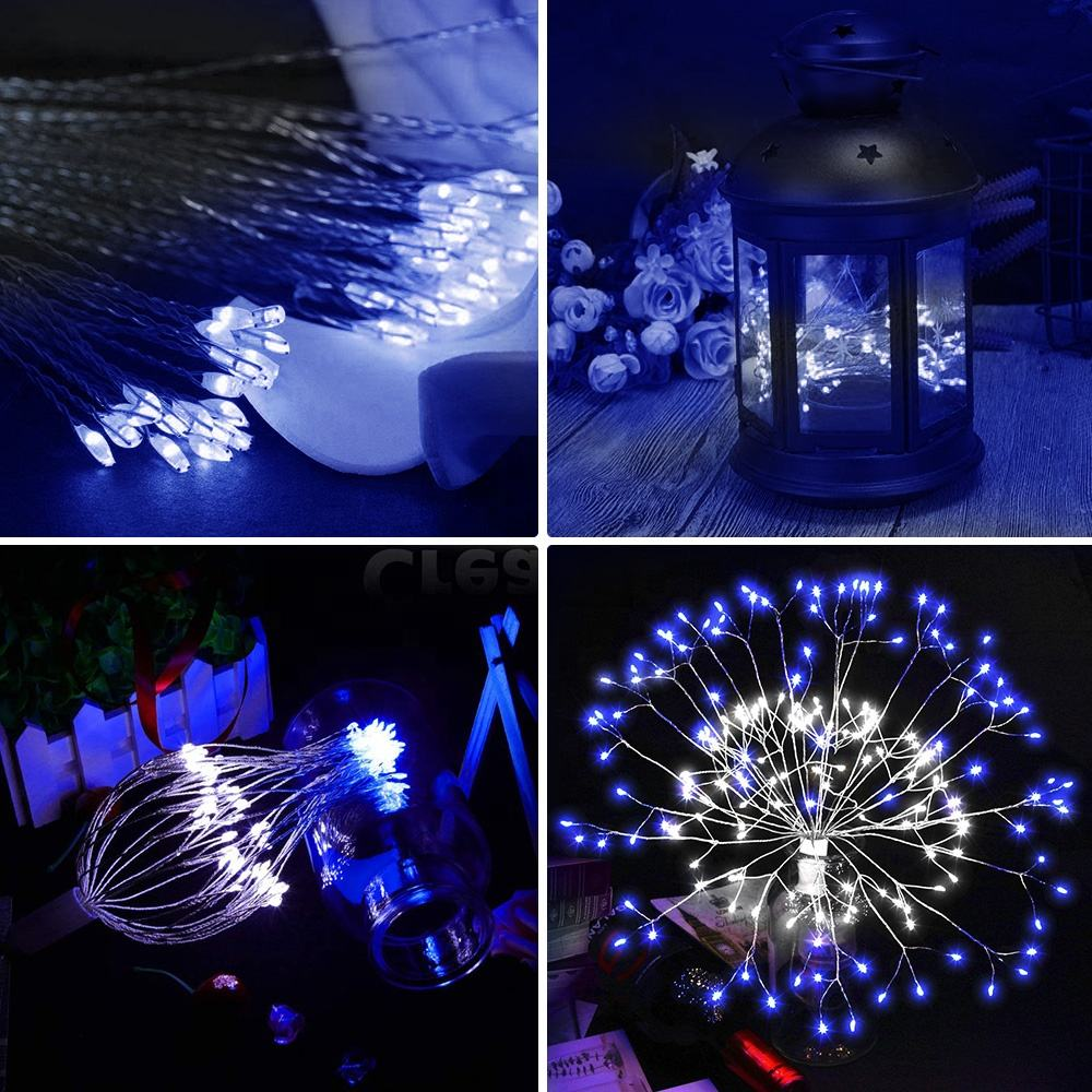 2019 New Year Christmas DIY Firework LED String Hanging Starburst Fairy Strip Light Wedding Party Home Decor
