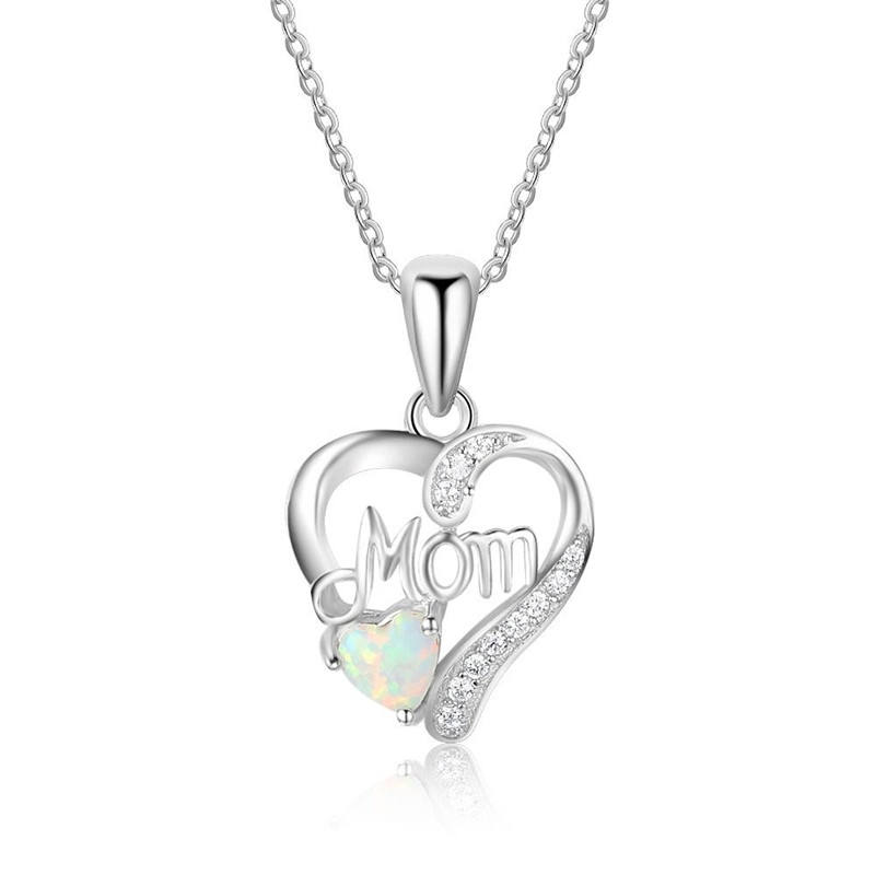 Love Gift Mom Letter Opal Heart Pendant Necklace Silver Color Jewelry Mother Day Gift For Mother