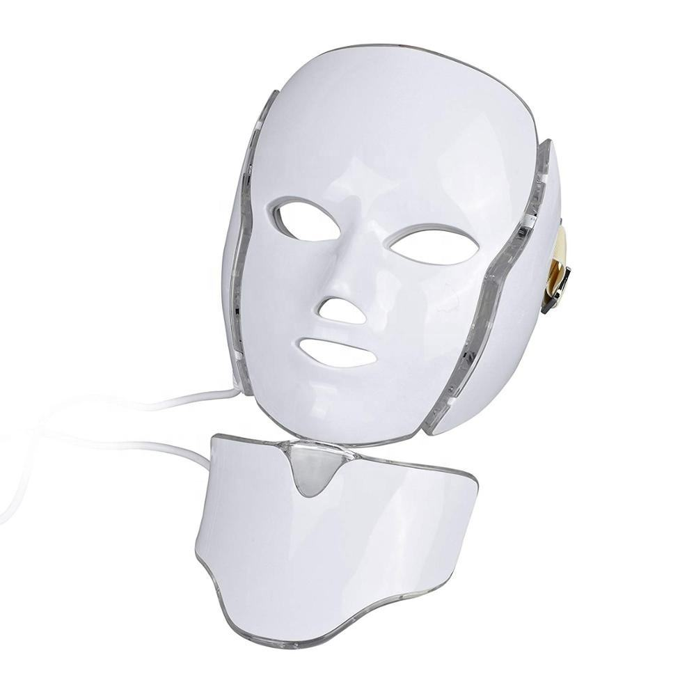 LED Face Photon Mask 7 Lights Skin Care Mask for Brightening, Supplemental Collagen Mask Facial with Neck