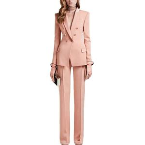 Pink Color Slim Fitting European Style Women Office Suit Custom Made Ladies Suits