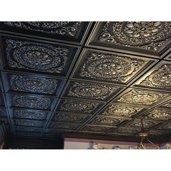 Waterproof and fireproof PVC embossed ceiling tiles grain composites black ceiling wall panel for interior decoration