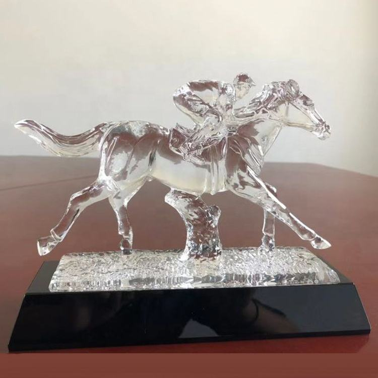 Souvenir Gift Figurine Glass Horse Head Crystal Trophy