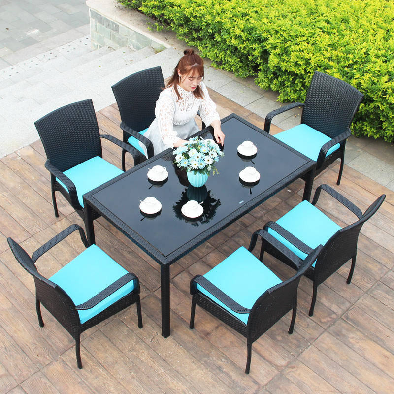 Outdoor tables and chairs balcony chair rattan outdoor tie Yi rattan chair tea table combination leisure furniture