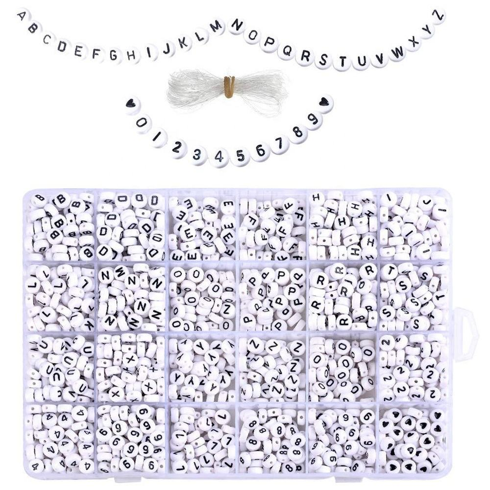1850 Pieces 7x4mm Sorted Alphabet Beads and White Acrylic Letter Bead Kit, Vowel Letter Beads for Jewellery&Ma
