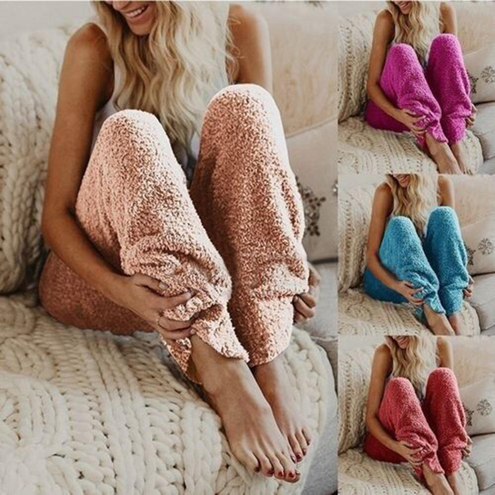 Hot sale Fashion Winter Warm Solid Color Long Plush Fleece Pajama Pants Women