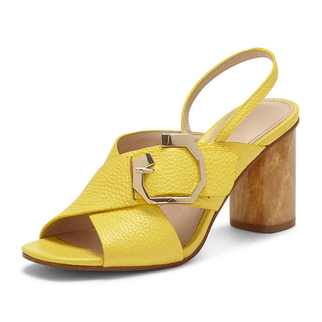 OEM Shoe Famous Brand Manufacturing Companies Wood Block Heel Yellow Latest Sandals For Ladies