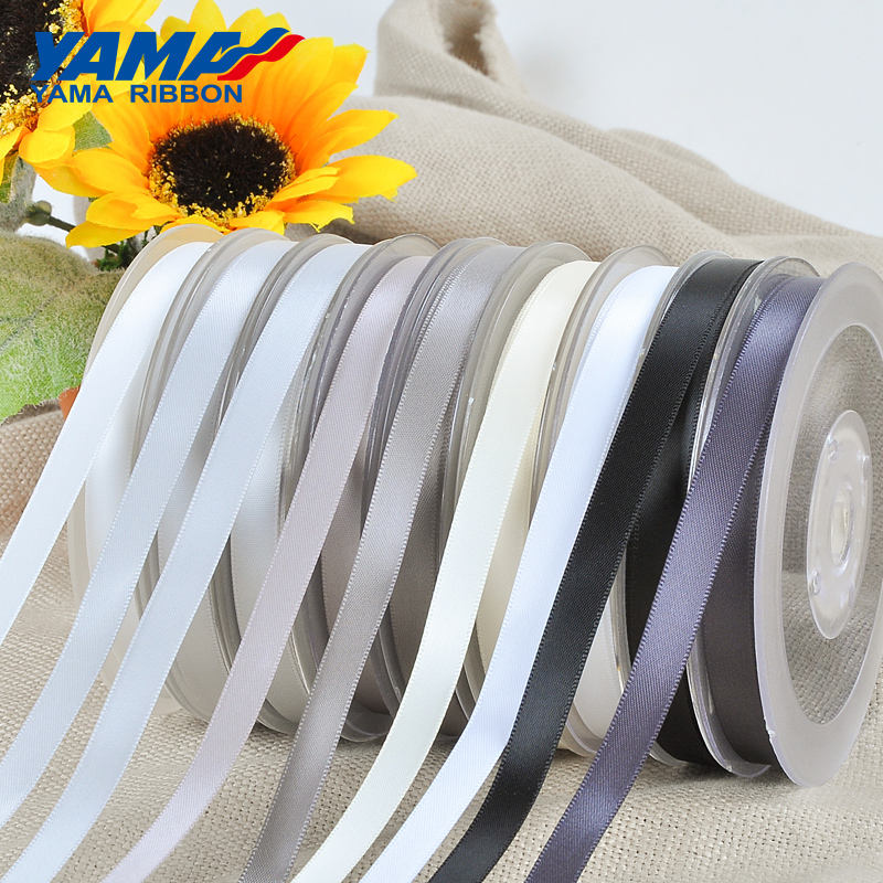 YAMA Factory Wholesale Double Faced Smooth 9mm Black White Satin Ribbon