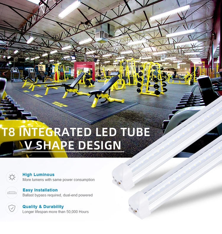 High Lumens ETL DLC CE ROHS 4ft 5ft 6FT 8FT LED Linear LED Shop Dual แถว V รูปร่าง T8 LED แบบบูรณาการ