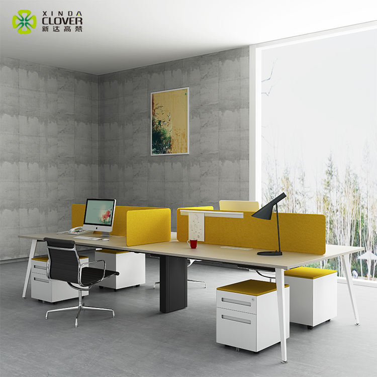 Table Designs Commercial Furniture High Quality Modern Design Steel Desk Frame White Table Top 4 Person Office Workstation For Staff