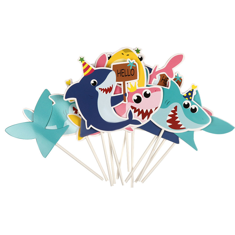 New Style custom happy birthday Party Lovely Gifts Decorating Shark Cake Topper