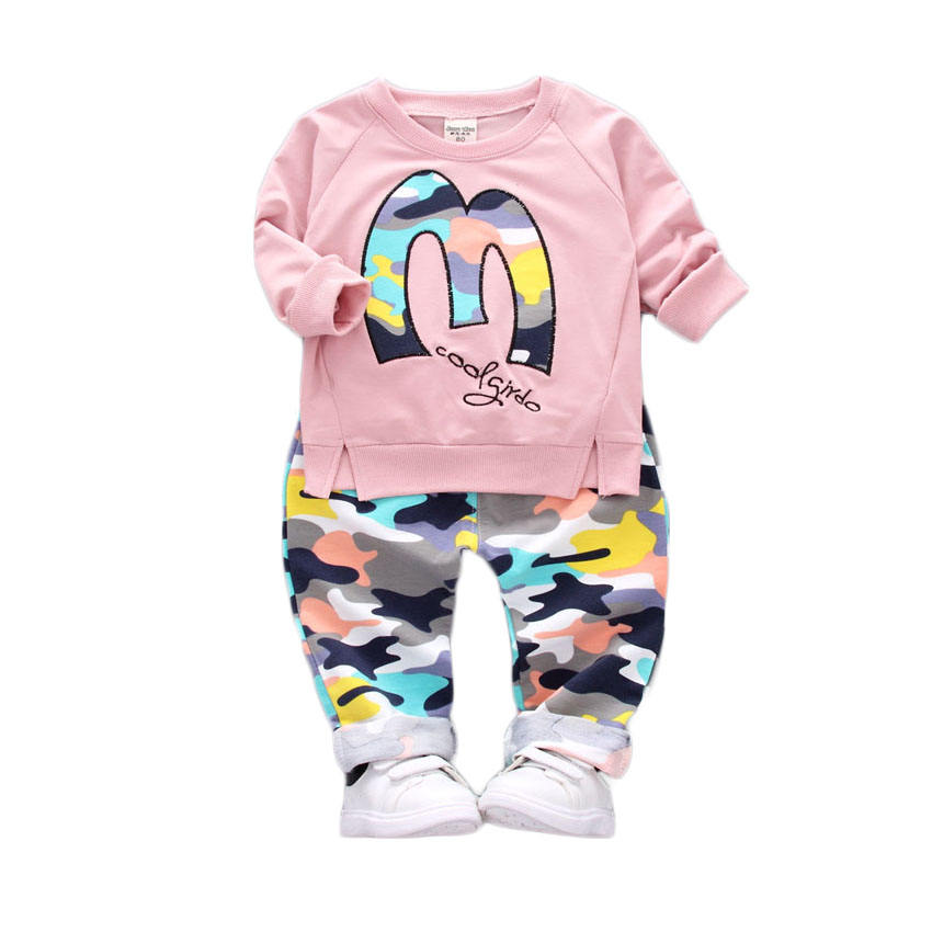 Online Amazon Hot Sell Babe Clothes M Letter Printed Unisex Baby 2 Piece Clothing Set