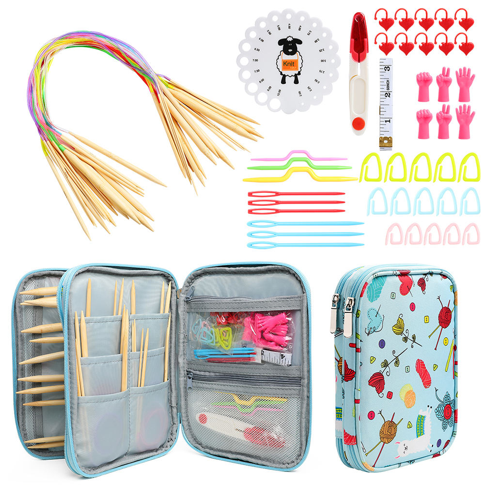 Knitting Kit Practical Circular Double Pointed Interchangeable Crochet Needles Set with Long Cables for Beginners