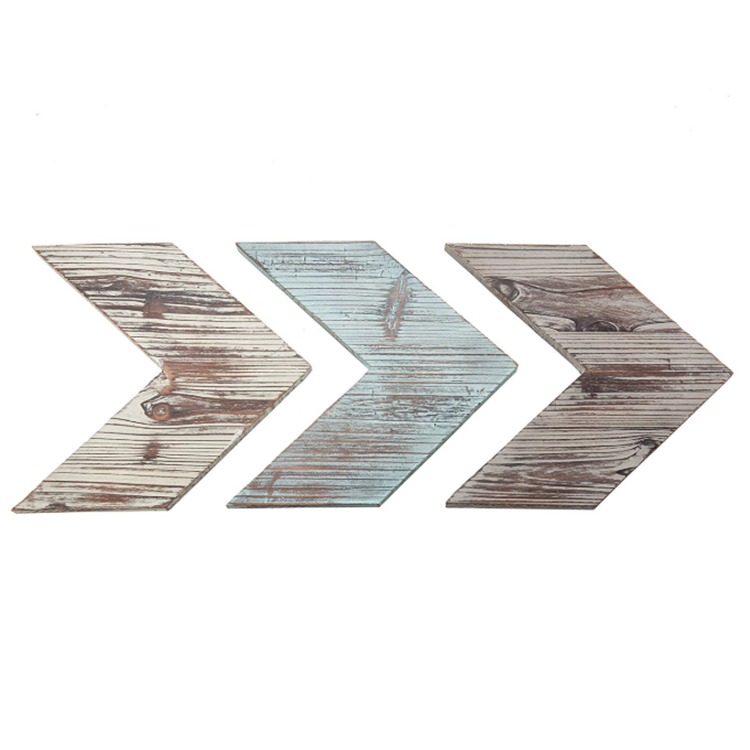 Factory chevron arrows mixed distressed blue brown soild wooden wall decor