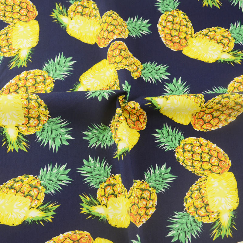 Eco-friendly nice quality Pineapple design 100% cotton poplin printed fabric for shirt