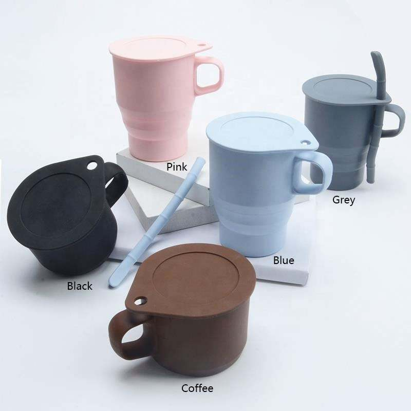 300ML new design Portable Silicone Foldable coffee drinking cup reusable silicone collapsible travel mug