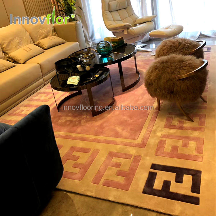Pink Color Brand Logo New Zealand Wool Customized Design Modern Show Room Interior Renovation Handmade carpet