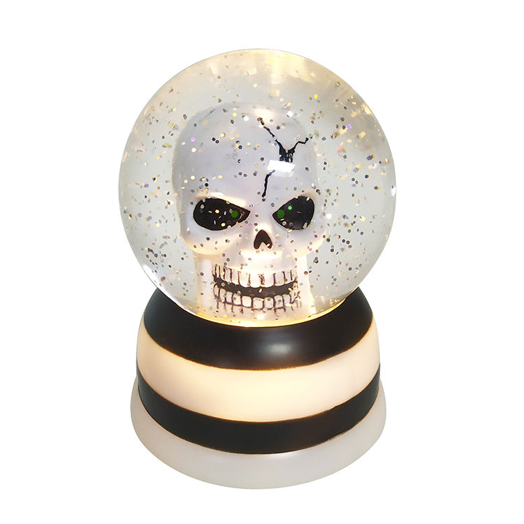 2020 New Plastic Custom Snow Lantern Led Glitter Swirl Dome Souvenir Halloween Skull Water Globe